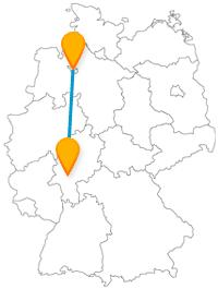 Eine Fahrt mit dem Fernbus von Bremen nach Frankfurt ist eine Reise zwischen Meer und Metropole.