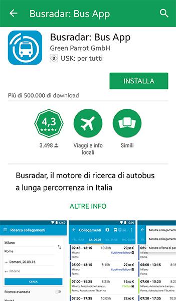 Dove scaricare l'app di Busradar