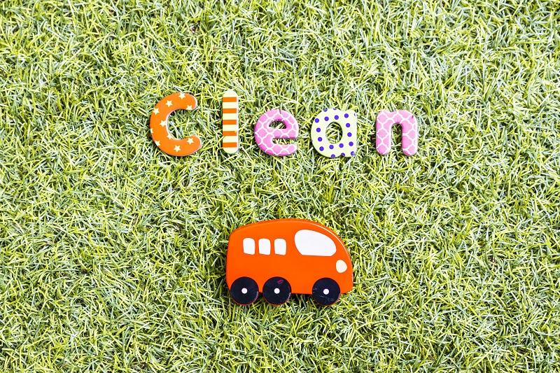 Bus im Gras mit Schriftzug Clean