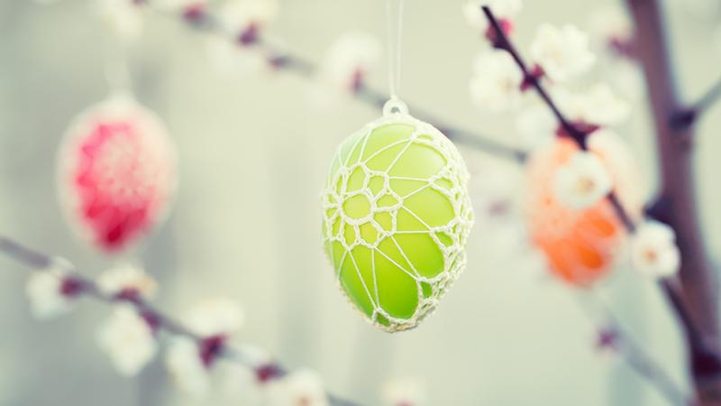 Bunte, verzierte Ostereier am blühenden Apfelbaum sind ein schöner Anreiz auf Suche zu gehen.