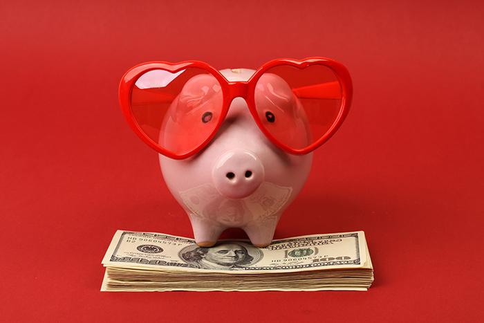 Für eine Fahrt mit dem Fernbus hat auch das Sparschwein gern eine rosarote Brille auf.