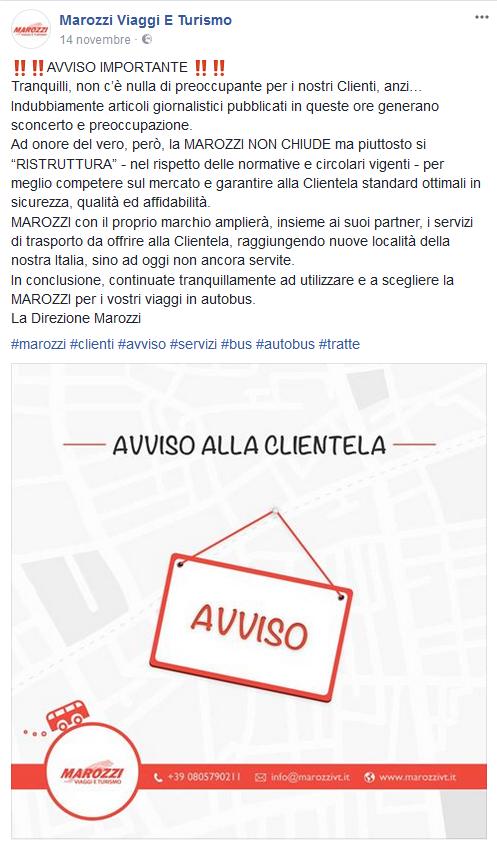 Il comunicato delle Autolinee Marozzi.