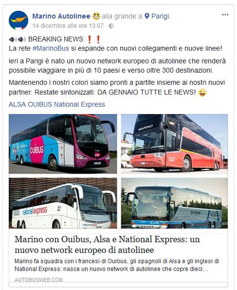 Il comunicato di Marino sulla partnership con Ouibus, Alsa e National Express.