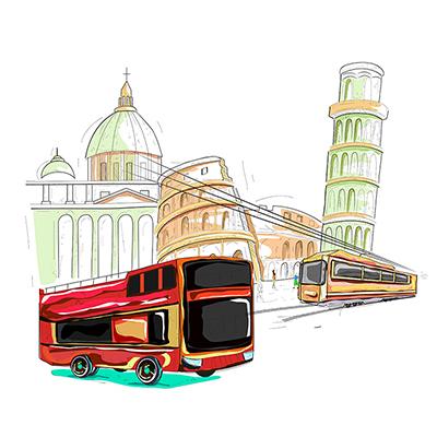 Viaggia in autobus in Italia