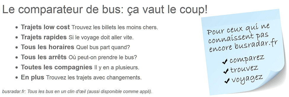 La comparaison de bus: ça vaut le coup!