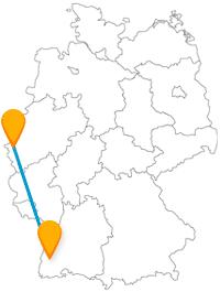 Lassen Sie sich vom Fernbus von Aachen nach Freiburg zu vielen kleinen Bächen fahren.
