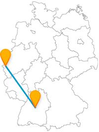 Deutsches Monument oder europaweit einzigartiger Park, der Fernbus zwischen Aachen und Stuttgart verbindet beides.