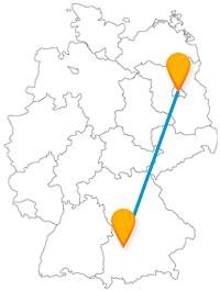 Die Reise mit dem Fernbus von Augsburg nach Berlin bringt Sie von einem Goldenen Saal zu einem bunten Zoo.