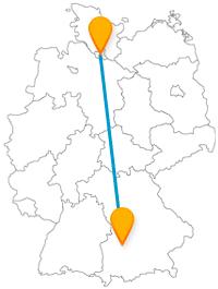 Die Reise mit dem Fernbus von Augsburg nach Hamburg lässt Sie ein Miniaturland und die älteste Sozialsiedlung entdecken.