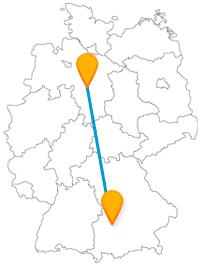 Die Fahrt mit dem Fernbus zwischen Augsburg und Hannover bringt Sie zu Zoo-Attraktionen und zu einem schlossähnlichen Gebäude.