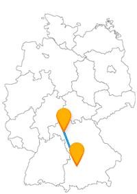 Die Reise mit dem Fernbus von Augsburg nach Würzburg bleibt innerhalb der bayrischen Landesgrenzen.