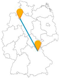 Die Reise mit dem Fernbus von Bayreuth nach Bremen durchquert Deutschland vom Südosten in den Nordwesten.