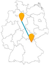 Die Fahrt mit dem Fernbus von Bayreuth nach Hannover führt über mehrere Bundesländergrenzen hinweg.
