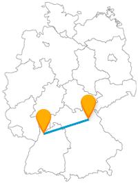 Die Busfahrt mit dem Fernbus von Bayreuth nach Heidelberg bleibt in Süddeutschland.