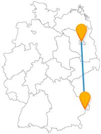 Barocke Alstadt oder eine Insel, die Reise mit dem Fernbus von Berlin nach Passau ist abwechslungsreich.