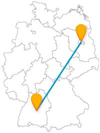 Fahren Sie mit dem Fernbus von Berlin nach Reutlingen vom höchsten Bauwerk Deutschlands zu einem bekannten Schloss.