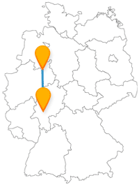Die Reise im Fernbus zwischen Bielefeld und Frankfurt am Main überrascht mit besonderen Häusern, einem Wanderweg und dem ältesten Zoo der Welt.