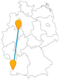 Fahren Sie mit dem Fernbus von Bielefeld nach Freiburg und wechseln Sie von friedlicher Waldnatur zu einem nicht weniger friedlichen Stadtflair.