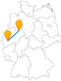 Wandern und besichtigen, nach der Fahrt im Fernbus von Bielefeld nach Köln können Sie sich entspannt auf den Weg machen.