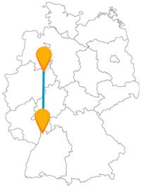 Die Reise mit dem Fernbus zwischen Bielefeld und Mannheim verspricht gemütliche Spaziergänge.