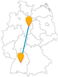 Die Reise mit dem Fernbus zwischen Braunschweig und Stuttgart führt Sie durch alte Straßen und weitläufige Parks.