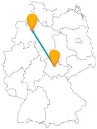 Auf der Reise mit dem Fernbus zwischen Bremen und Erfurt gibt es nicht nur die längste mit Wohnhäusern bebaute Brücke zu entdecken.