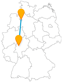 Die Fernbusreise zwischen Bremen und Gießen lässt Sie Pflanzenvielfalt und einen Kopf entdecken.