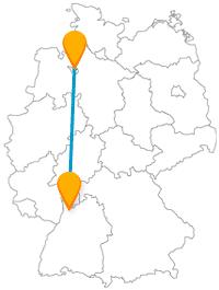 Die Reise mit dem Fernbus von Bremen nach Heidelberg bringt Sie geradewegs zu einer berühmten Ruine.