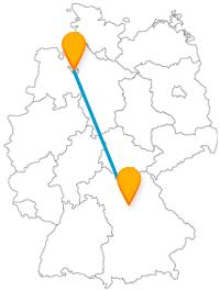 Die Fahrt mit dem Fernbus zwischen Bremen und Nürnberg ist eine Reise in die Neuzeit und das Spätmittelalter.