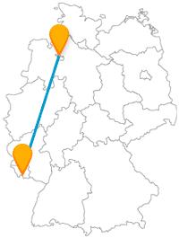 Eine Busreise mit dem Fernbus von Bremen nach Saarbrücken verbindet einen Stadtstaat mit einer Landeshauptstadt.