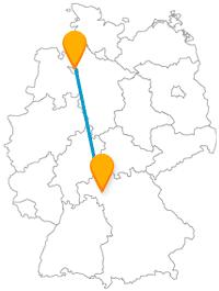 Die Fahrt im Fernbus zwischen Bremen und Würzburg ist auch eine historische Reise.