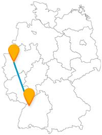Erleben Sie eine interessante Fahrt mit dem Fernbus zwischen Düsseldorf und Karlsruhe, zwischen Alstadt und einer Stadt im Wandel.