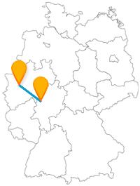 Flanieren Sie auf Ihrer Fernbusreise zwischen Düsseldorf und Marburg an der Lahn entlang der Rheinuferpromenade und entdecken Sie einen besonderen Gockel.