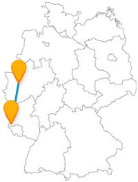 Mit dem Fernbus zwischen Düsseldorf und Trier geht es von der längsten Theke der Welt zu drei UNESCO-Weltkulturerben und wieder zurück.