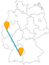 Besichtigen Sie auf Ihrer Reise mit dem Fernbus zwischen Düsseldorf und Ulm viele Schlösser und haben eine tolle Aussicht über die Stadt.