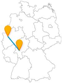 Schau-Aquarien oder Gerechtigkeitsbrunnen? Der Fernbus von Duisburg nach Frankfurt am Main bringt Sie zu beiden Sehenswürdigkeiten.