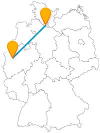 Die Reise mit dem Fernbus von Duisburg nach Hamburg verbindet verschiedene Hafenidyllen.