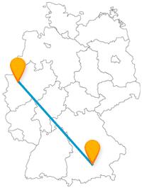 Ob Rathaus oder Dreigiebelhaus, die Reise mit dem Fernbus zwischen Duisburg und München verspricht Abwechslung.