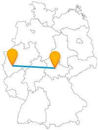 Im Freien oder freischwebend, können Sie die Ziele Ihrer Reise im Fernbus zwischen Erfurt und Köln erleben.