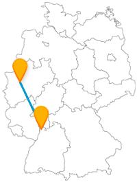 Je nach Stadt auf der Reise mit dem Fernbus zwischen Essen und Mannheim gestaltet sich der Spaziergang anders.