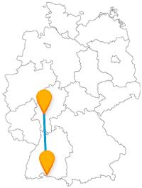 Die Reise mit dem Fernbus zwischen Frankfurt und Konstanz bringt Sie zu Blumen und Apfelwein.
