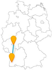 Der Fernbus zwischen Freiburg und Mainz verbindet römische Spurensuche mit einem Spaziergang entlang eines Stadtbächles.