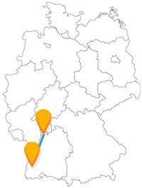 Fahren Sie auf Ihrer Reise im Fernbus zwischen Freiburg und Mannheim auch mal Bergbahn und lassen sich von Schlössern begeistern.