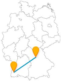 Auf Ihrer Reisen mit dem Fernbus zwischen Freiburg und Nürnberg, können Sie eine Wandertour, Therme und ein Künstlerhaus erleben.