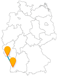 Die Reise im Fernbus zwischen Freiburg und Saarbrücken bringt Sie zum einen in ein angenehmes Klima und zum anderen zu einem antiken Relikt.