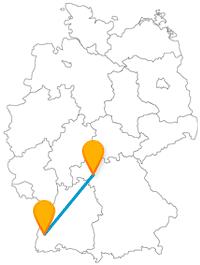 Verbinden Sie mit dem Fernbus zwischen Freiburg und Würzburg zwei beliebte Universitätsstädte.