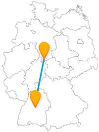 Auf der Reise mit dem Fernbus zwischen Göttingen und Stuttgart begegnen Sie einer berühmten Frau und können ein Palais besichtigen.