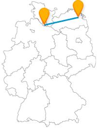 Die Reise mit dem Fernbus von Greifswald nach Hamburg bringt Sie von einer Klosterruine zu einer abwechslungsreichen Hafencity.