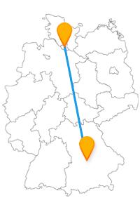 Sie können nach der längeren Fahrt im Fernbus Hamburg Ingolstadt entweder zuerst gut essen gehen oder sich ein wenig die Beine vertreten.