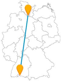 Verbinden mit dem Fernbus zwischen Hamburg und Konstanz zwei Hafenstädte.